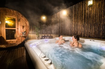 Outdoor Hot Tub & Sauna at Thainstone House