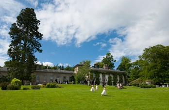 Wedding Guests Outside at Thainstone House