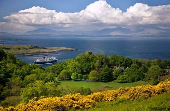 View of Ferry from Battleship Hill near Oban Bay Hotel